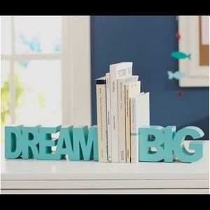 """PB Teen Book Ends """"Dream Big"""" Pool/Aqua Blue"""